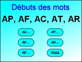 DÉBUT DES MOTS EN AC, AT, AF, AP, AR
